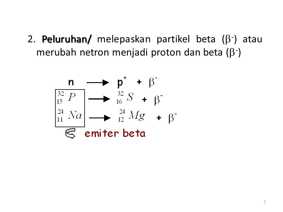 2. Peluruhan/ melepaskan partikel beta (-) atau merubah netron menjadi proton dan beta (-)