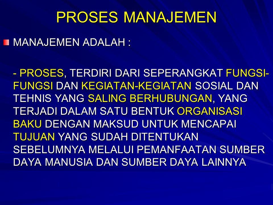 PROSES MANAJEMEN MANAJEMEN ADALAH :