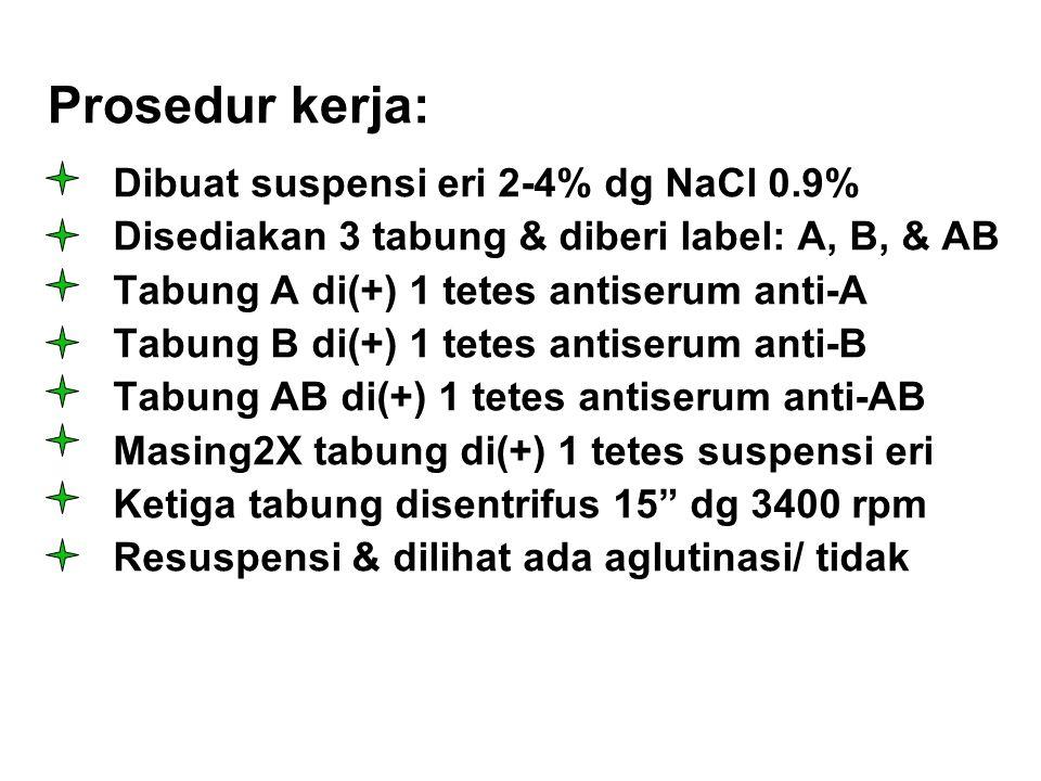 Prosedur kerja: Dibuat suspensi eri 2-4% dg NaCl 0.9%