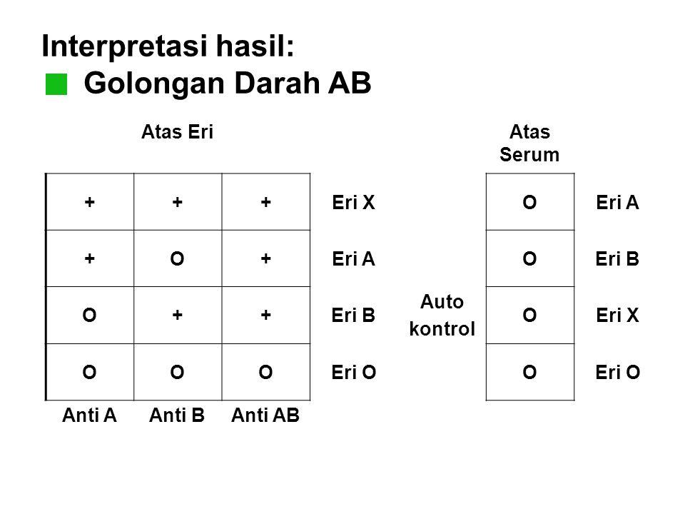 Interpretasi hasil: Golongan Darah AB