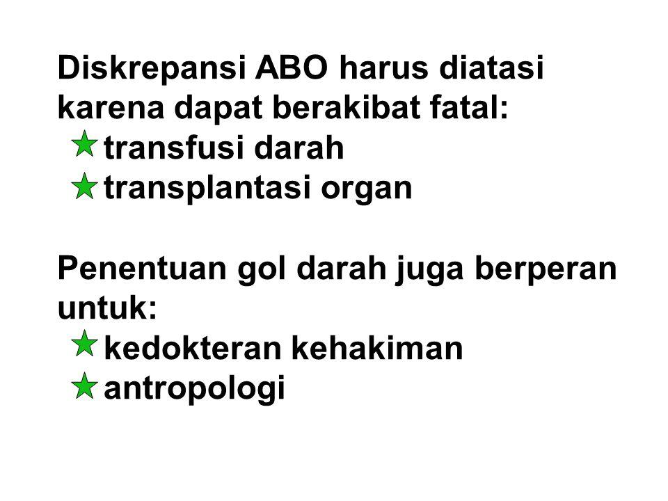 Diskrepansi ABO harus diatasi karena dapat berakibat fatal: transfusi darah transplantasi organ Penentuan gol darah juga berperan untuk: kedokteran kehakiman antropologi