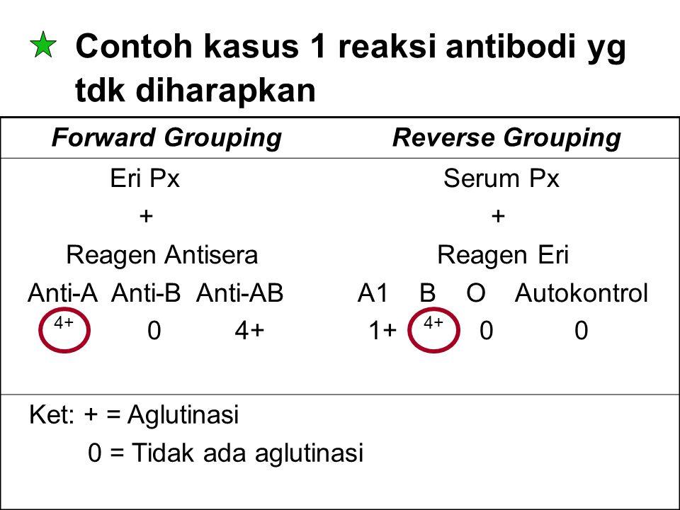 Contoh kasus 1 reaksi antibodi yg tdk diharapkan