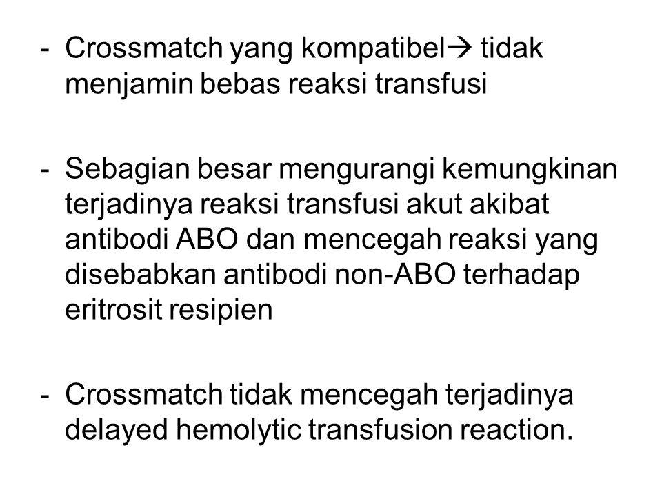 Crossmatch yang kompatibel tidak menjamin bebas reaksi transfusi