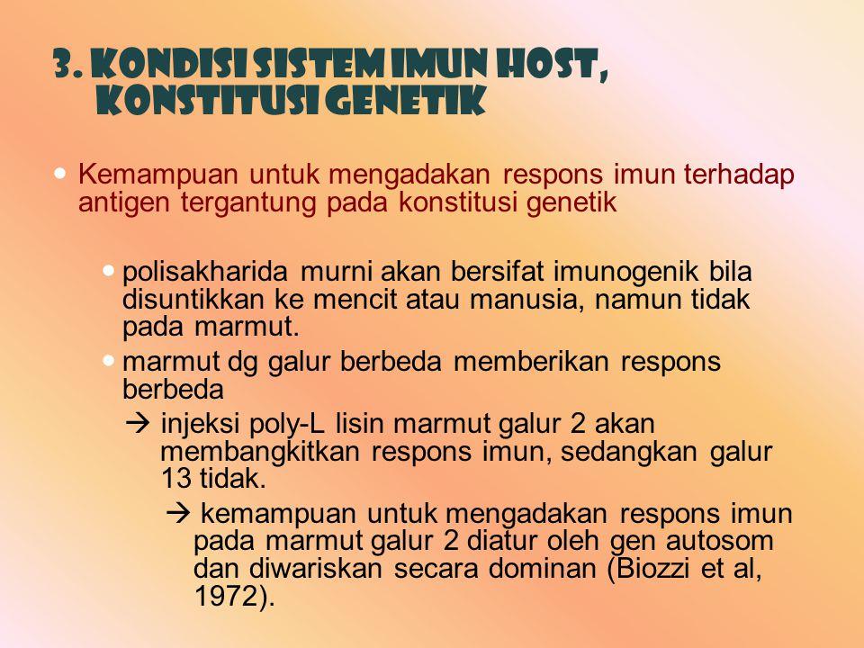 3. Kondisi sistem imun host, Konstitusi Genetik