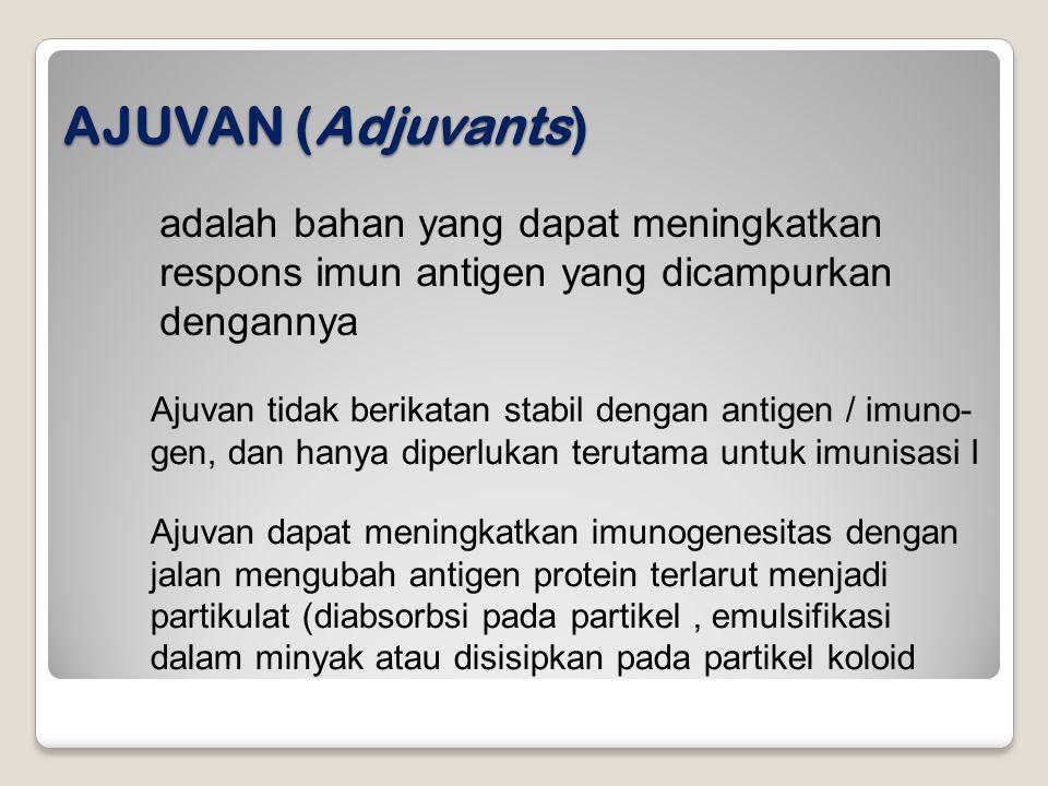 AJUVAN (Adjuvants) adalah bahan yang dapat meningkatkan respons imun antigen yang dicampurkan dengannya.