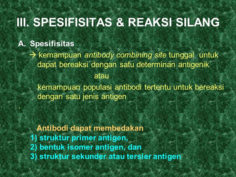 III. SPESIFISITAS & REAKSI SILANG