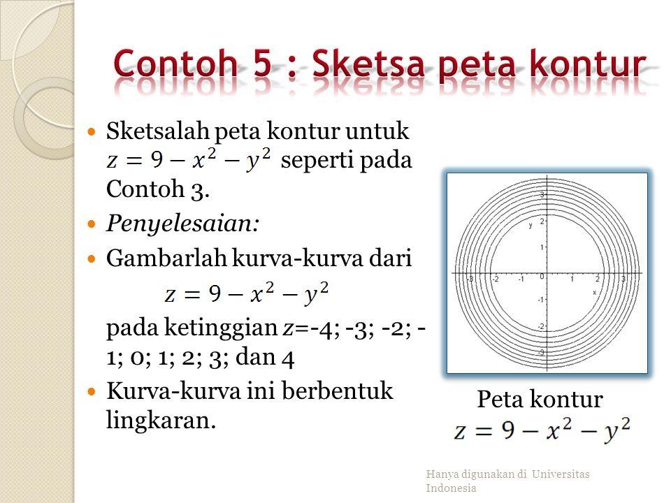 Contoh 5 : Sketsa peta kontur