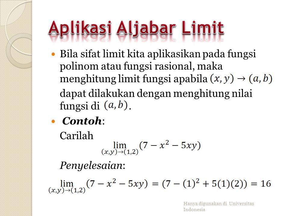 Aplikasi Aljabar Limit