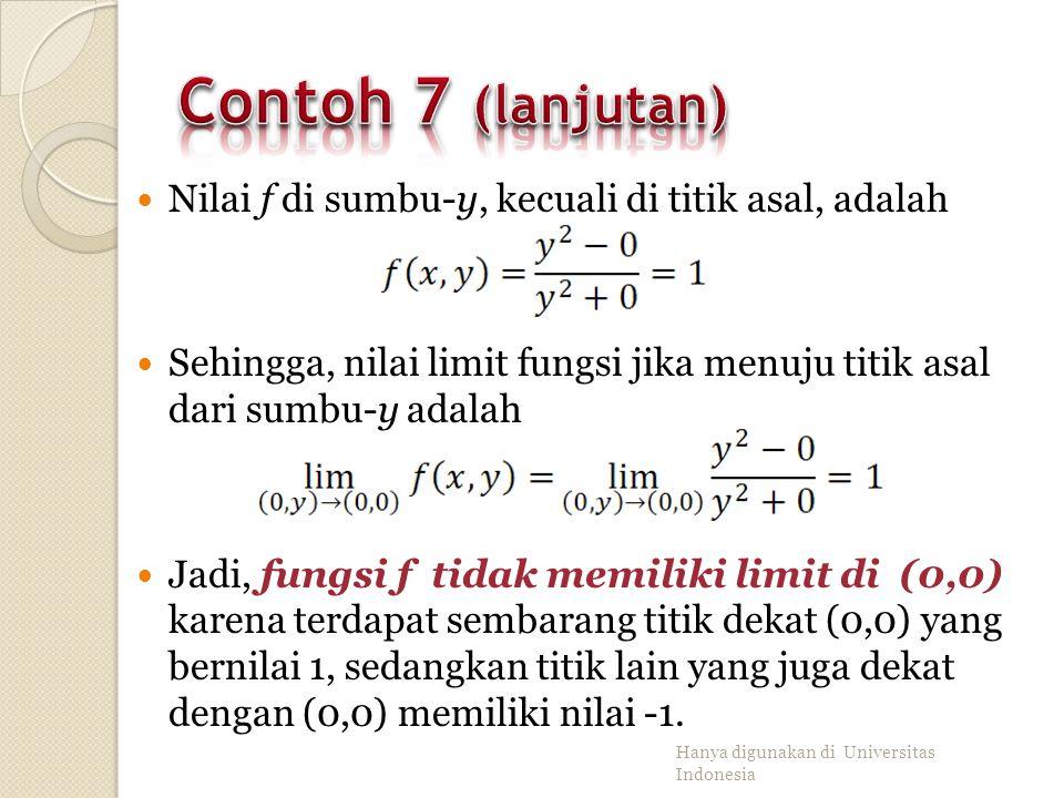 Contoh 7 (lanjutan) Nilai f di sumbu-y, kecuali di titik asal, adalah
