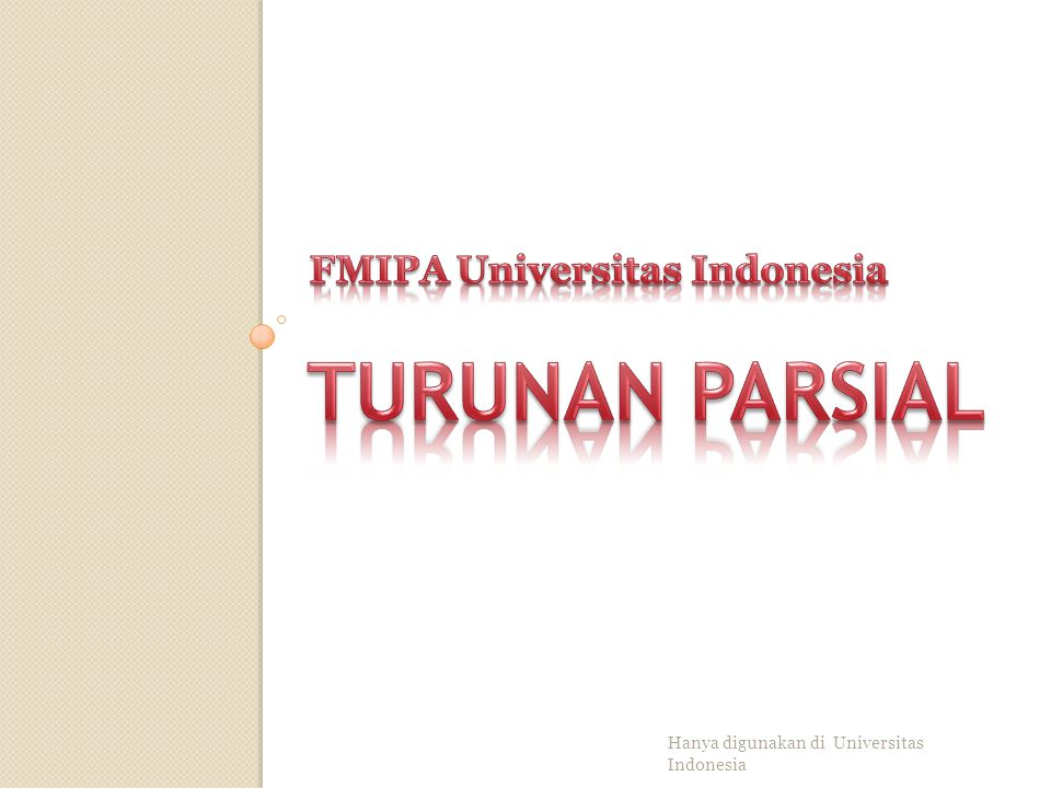 TURUNAN PARSIAL FMIPA Universitas Indonesia
