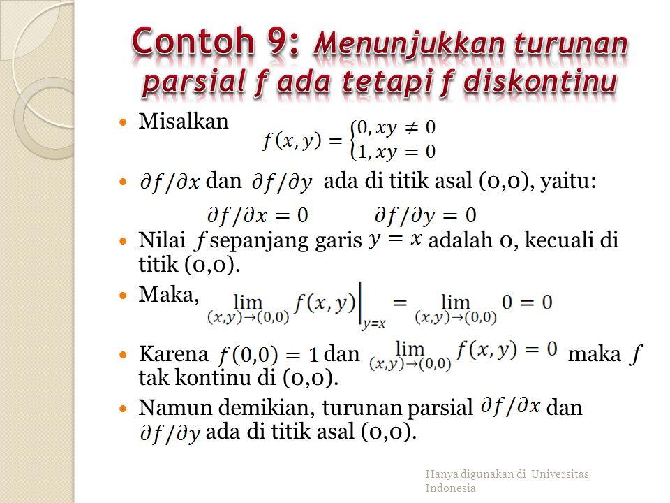 Contoh 9: Menunjukkan turunan parsial f ada tetapi f diskontinu
