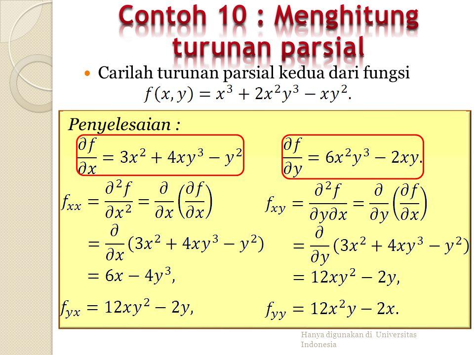 Contoh 10 : Menghitung turunan parsial