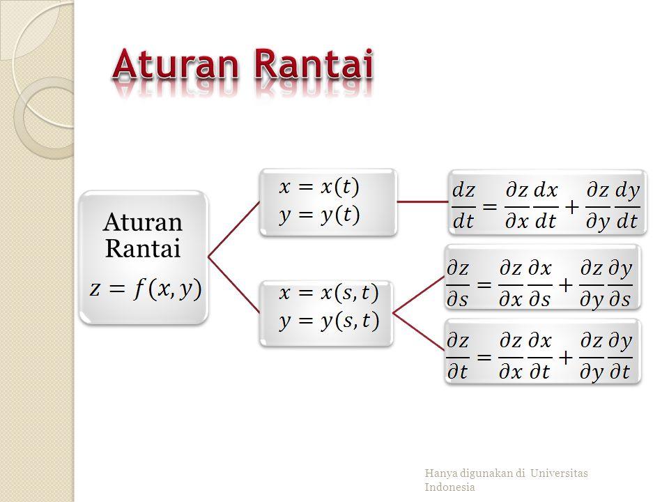 Aturan Rantai Aturan Rantai Hanya digunakan di Universitas Indonesia