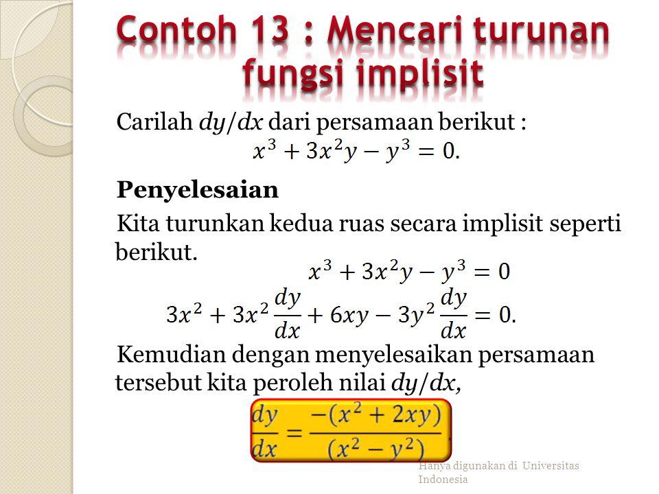Contoh 13 : Mencari turunan fungsi implisit