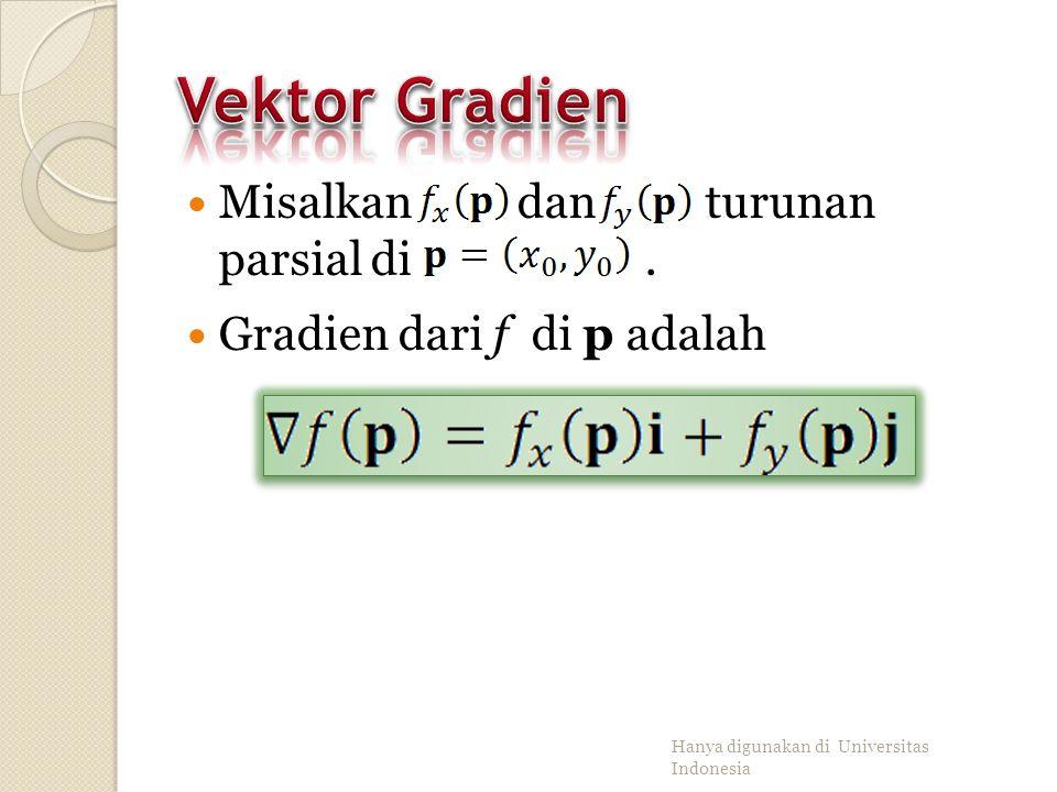 Vektor Gradien Misalkan dan turunan parsial di .