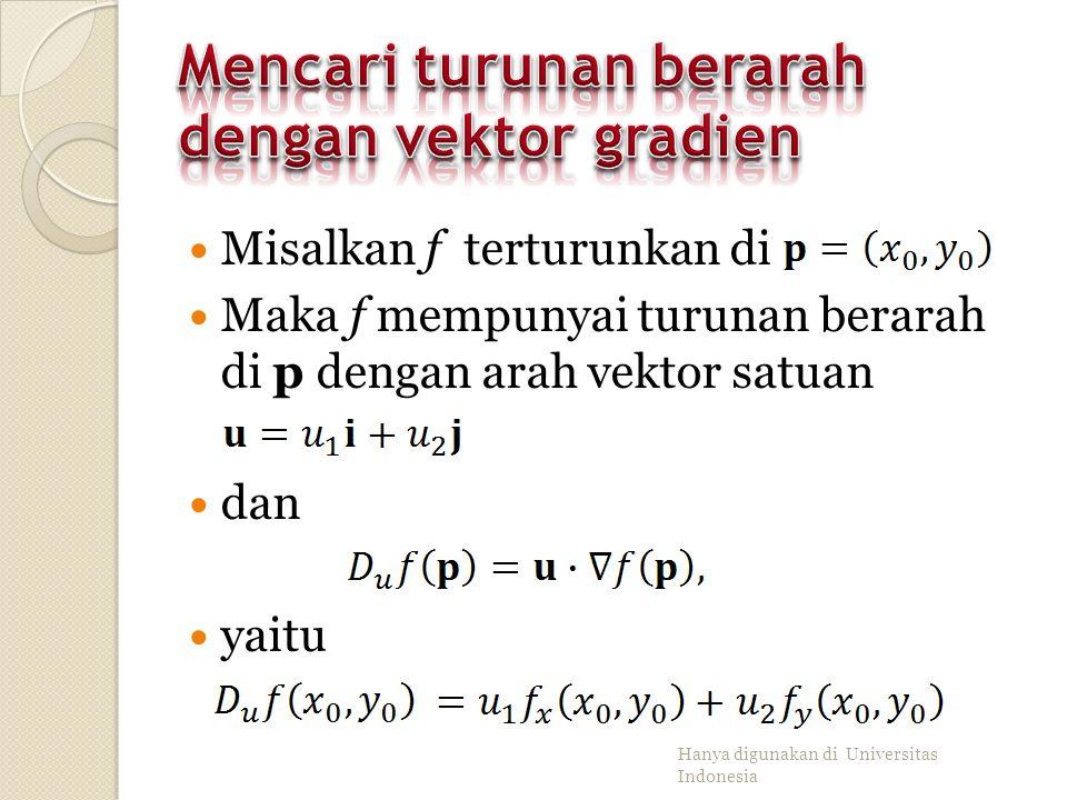 Mencari turunan berarah dengan vektor gradien