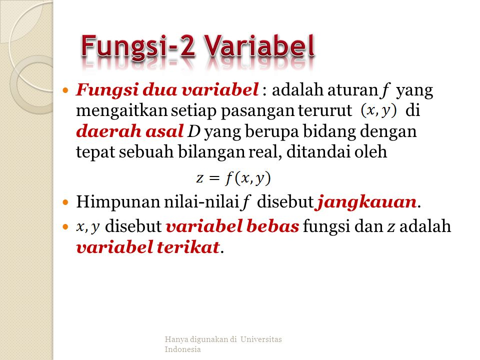 Fungsi-2 Variabel