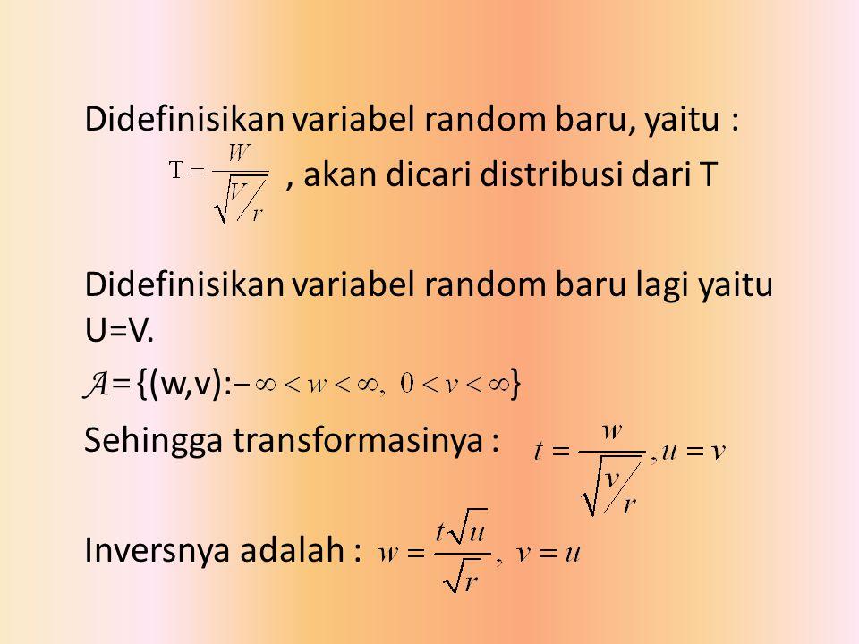 Didefinisikan variabel random baru, yaitu : , akan dicari distribusi dari T Didefinisikan variabel random baru lagi yaitu U=V.