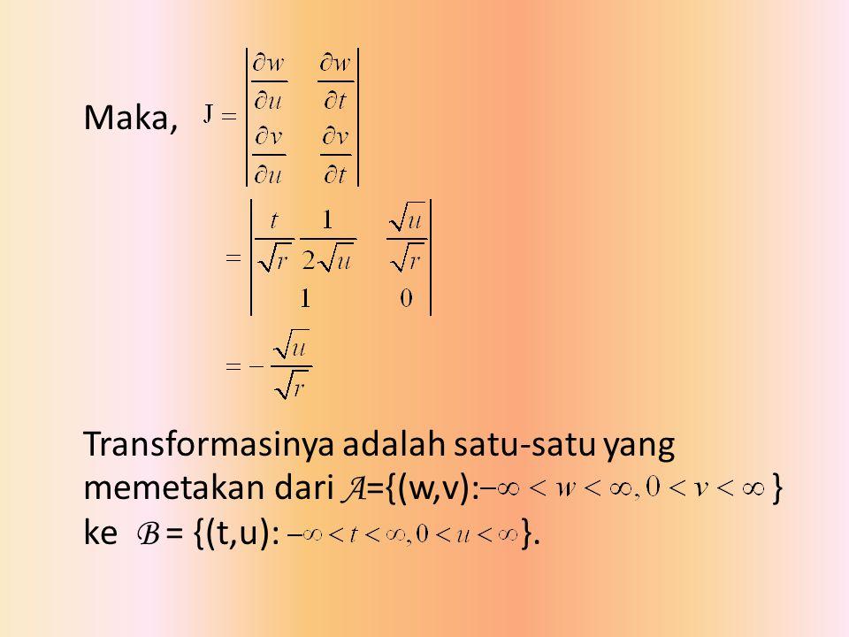 Maka, Transformasinya adalah satu-satu yang memetakan dari A={(w,v): } ke B = {(t,u): }.