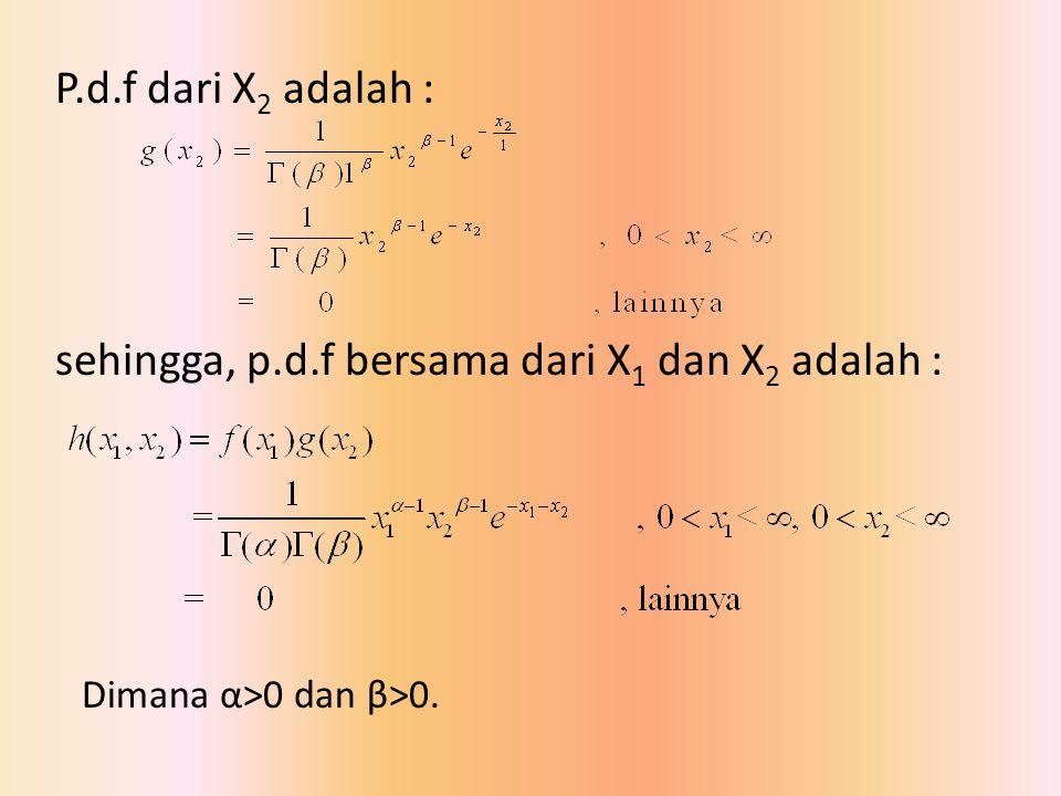 P.d.f dari X2 adalah : sehingga, p.d.f bersama dari X1 dan X2 adalah :