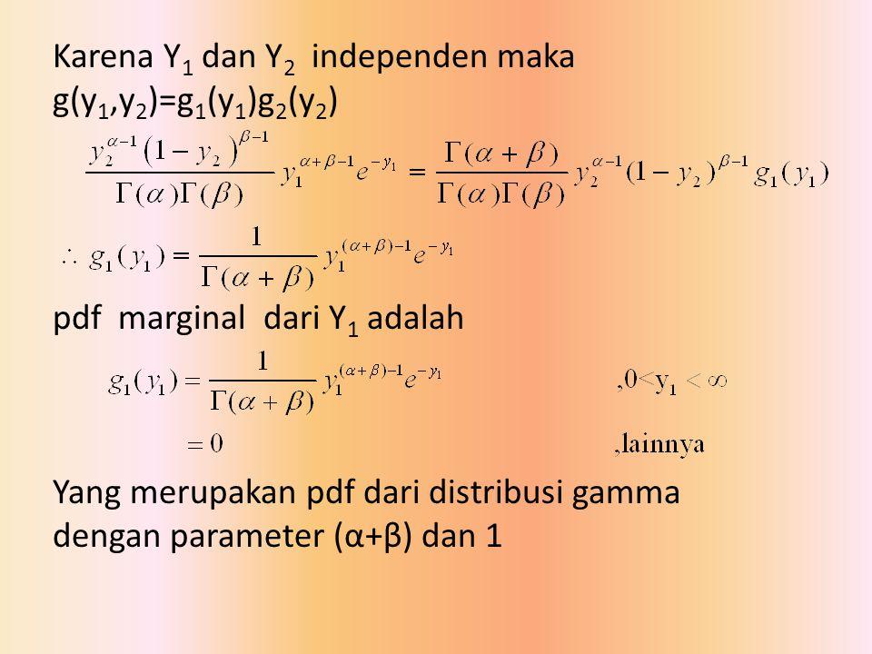 Karena Y1 dan Y2 independen maka g(y1,y2)=g1(y1)g2(y2) pdf marginal dari Y1 adalah Yang merupakan pdf dari distribusi gamma dengan parameter (α+β) dan 1
