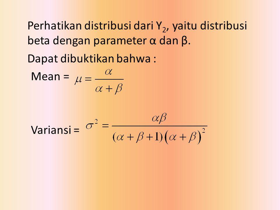 Perhatikan distribusi dari Y2, yaitu distribusi beta dengan parameter α dan β.
