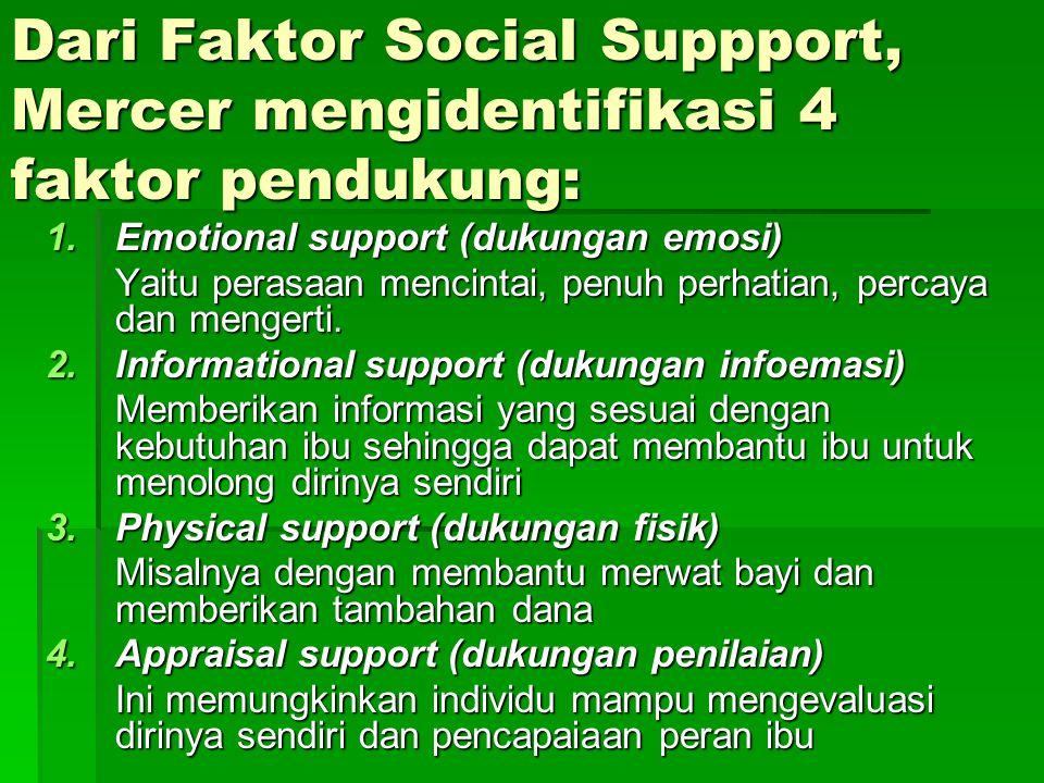 Dari Faktor Social Suppport, Mercer mengidentifikasi 4 faktor pendukung: