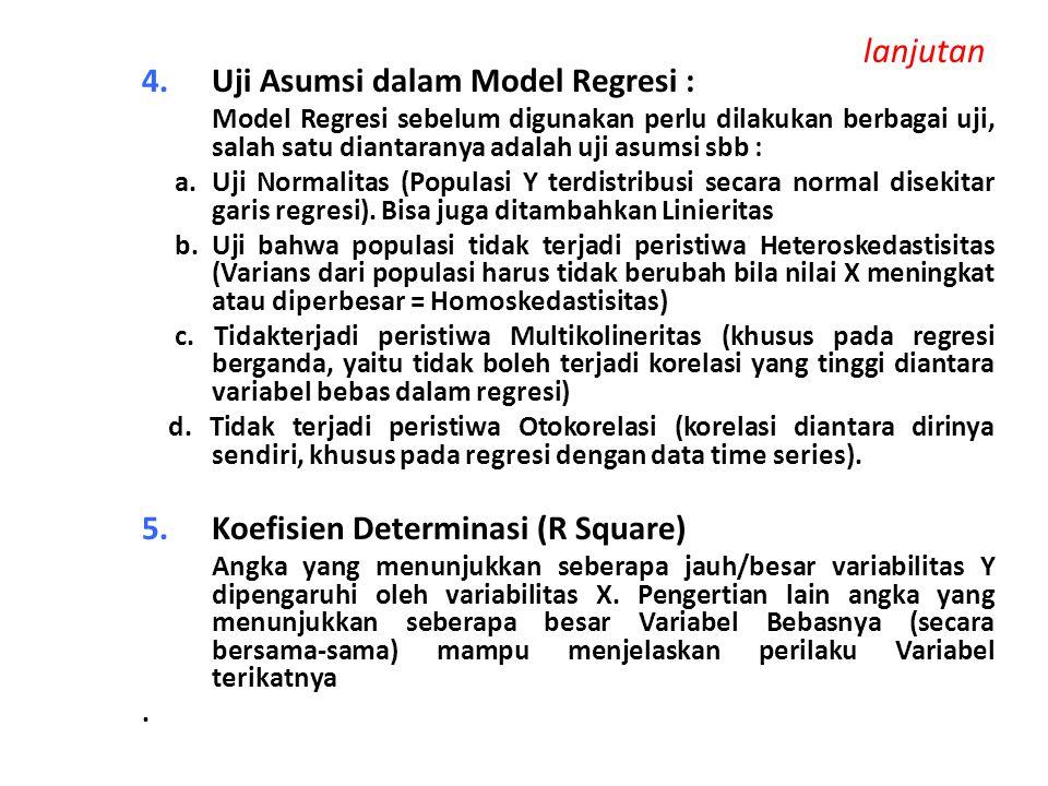 lanjutan Uji Asumsi dalam Model Regresi :