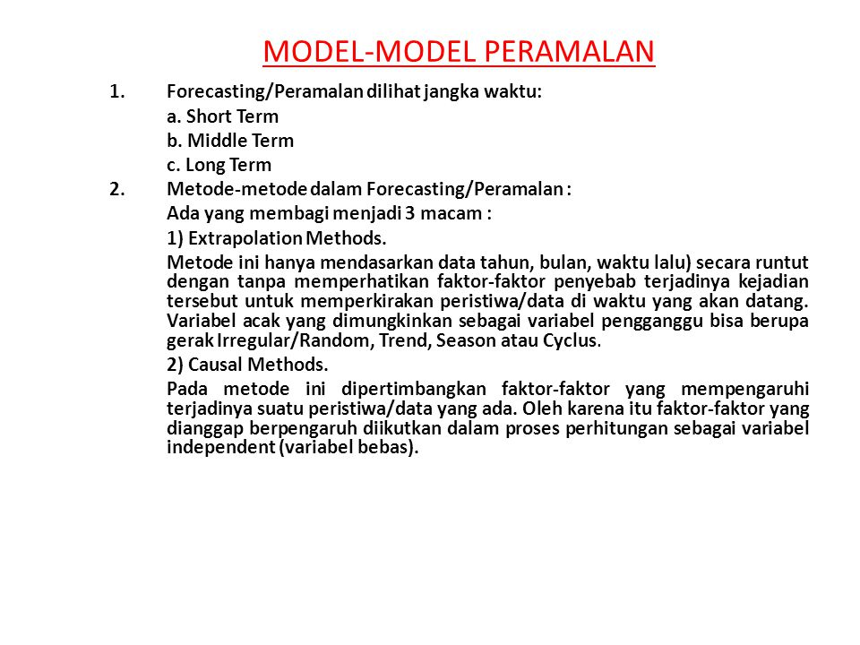 MODEL-MODEL PERAMALAN