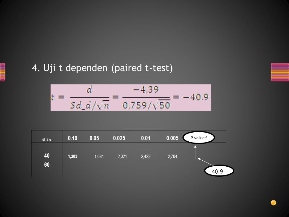 4. Uji t dependen (paired t-test)