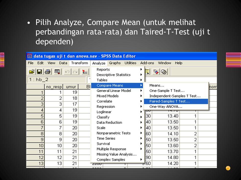 Pilih Analyze, Compare Mean (untuk melihat perbandingan rata-rata) dan Taired-T-Test (uji t dependen)
