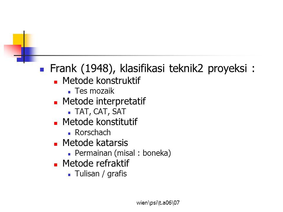 Frank (1948), klasifikasi teknik2 proyeksi :
