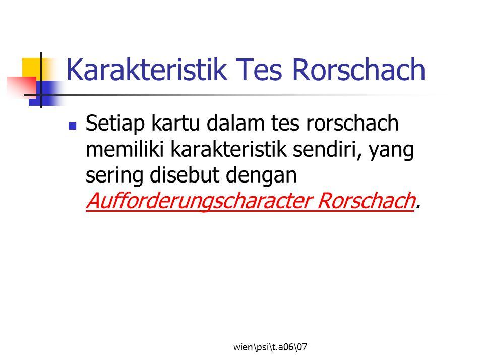 Karakteristik Tes Rorschach