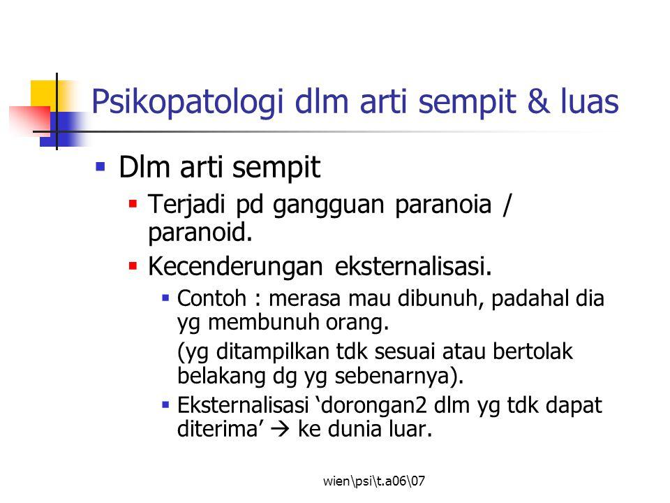 Psikopatologi dlm arti sempit & luas