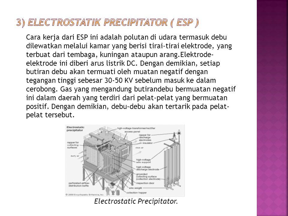 3) Electrostatik precipitator ( ESP )