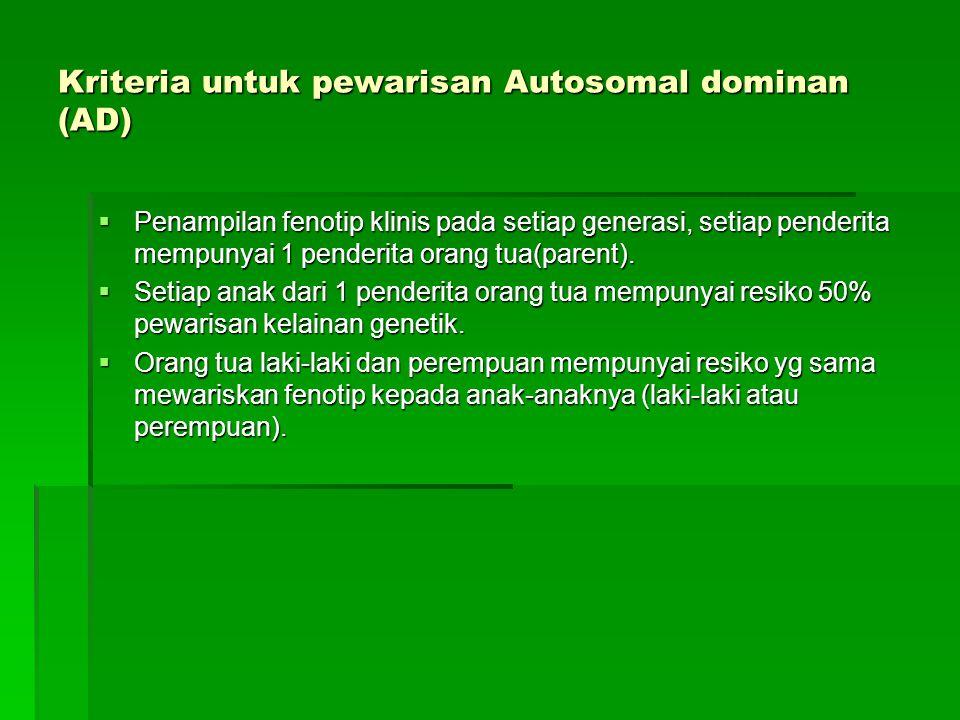 Kriteria untuk pewarisan Autosomal dominan (AD)