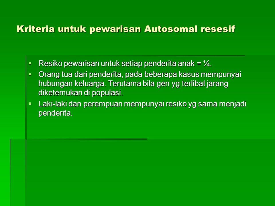 Kriteria untuk pewarisan Autosomal resesif