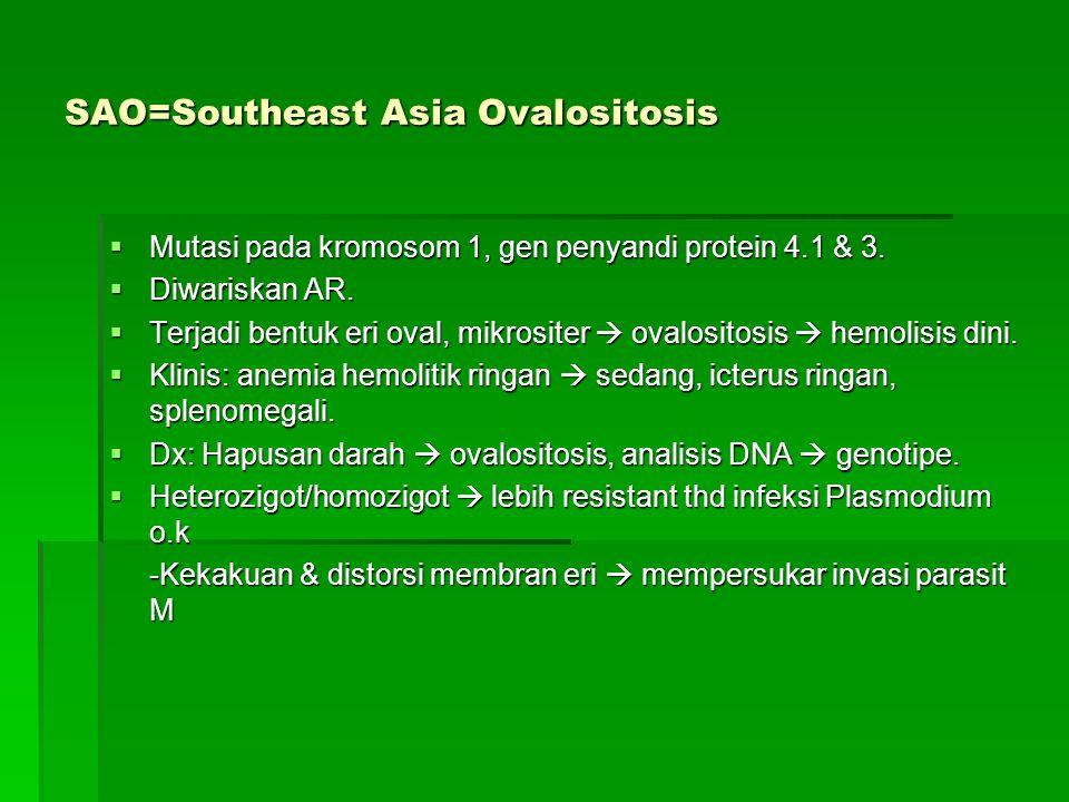 SAO=Southeast Asia Ovalositosis