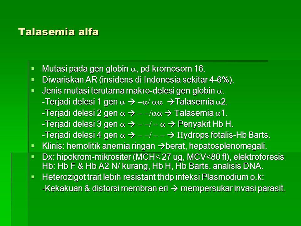 Talasemia alfa Mutasi pada gen globin a, pd kromosom 16.