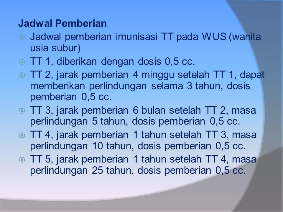 Jadwal Pemberian Jadwal pemberian imunisasi TT pada WUS (wanita usia subur) TT 1, diberikan dengan dosis 0,5 cc.
