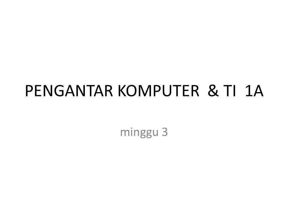 PENGANTAR KOMPUTER & TI 1A