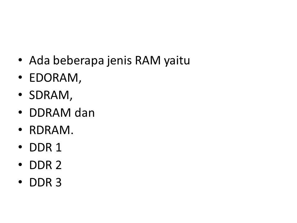 Ada beberapa jenis RAM yaitu