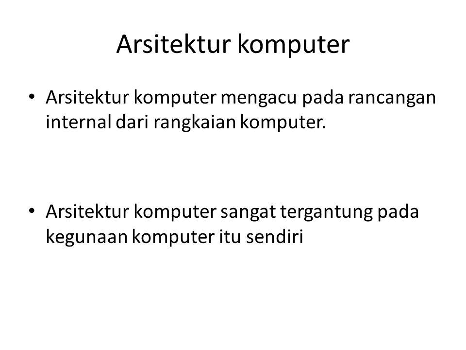 Arsitektur komputer Arsitektur komputer mengacu pada rancangan internal dari rangkaian komputer.