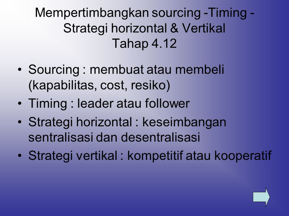 Mempertimbangkan sourcing -Timing -Strategi horizontal & Vertikal Tahap 4.12