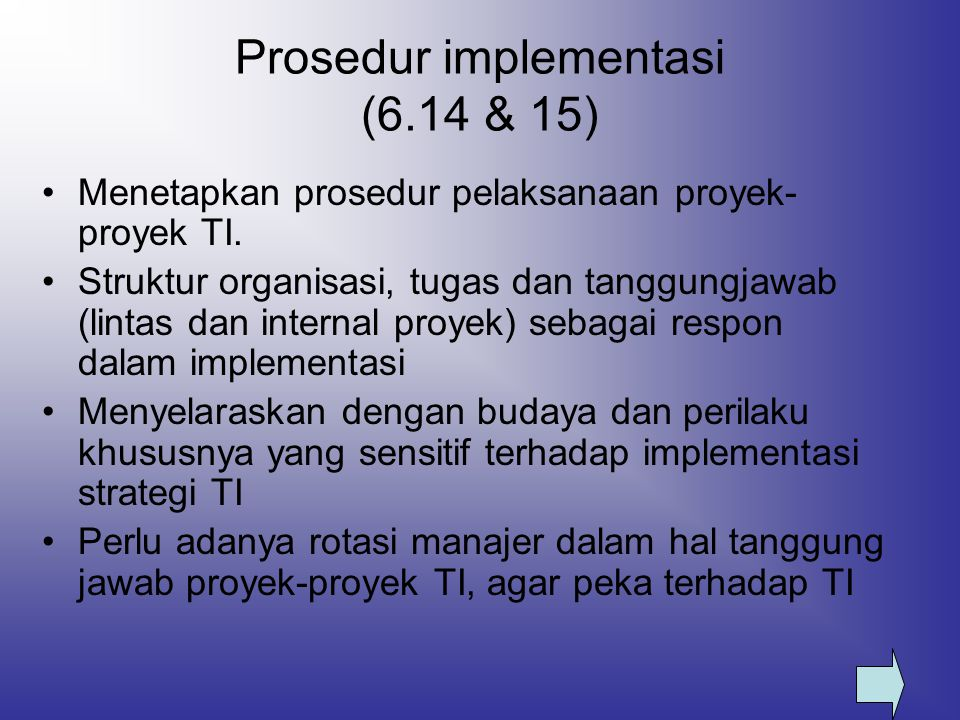 Prosedur implementasi (6.14 & 15)