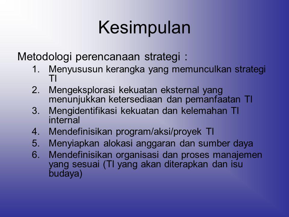 Kesimpulan Metodologi perencanaan strategi :