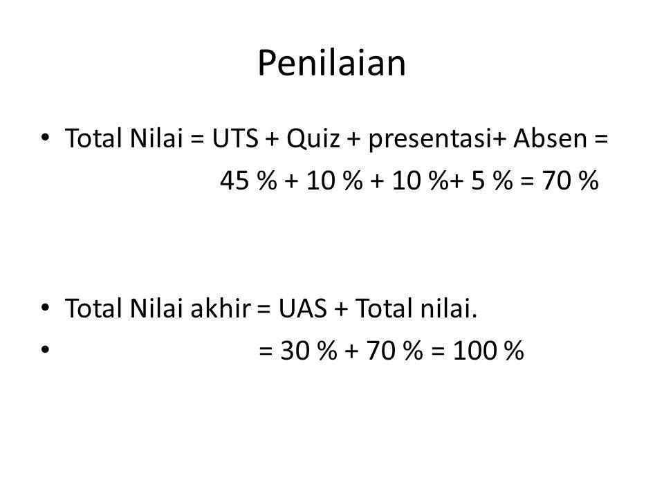 Penilaian Total Nilai = UTS + Quiz + presentasi+ Absen =