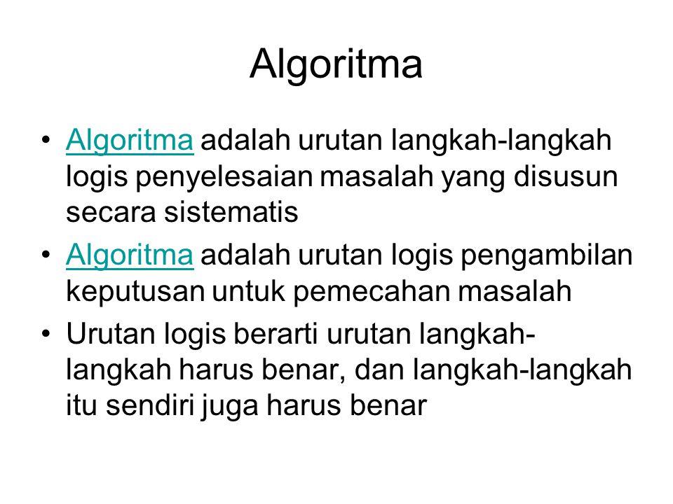 Algoritma Algoritma adalah urutan langkah-langkah logis penyelesaian masalah yang disusun secara sistematis.