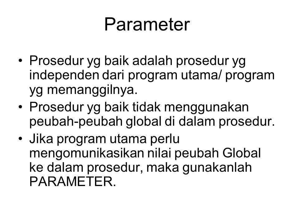Parameter Prosedur yg baik adalah prosedur yg independen dari program utama/ program yg memanggilnya.
