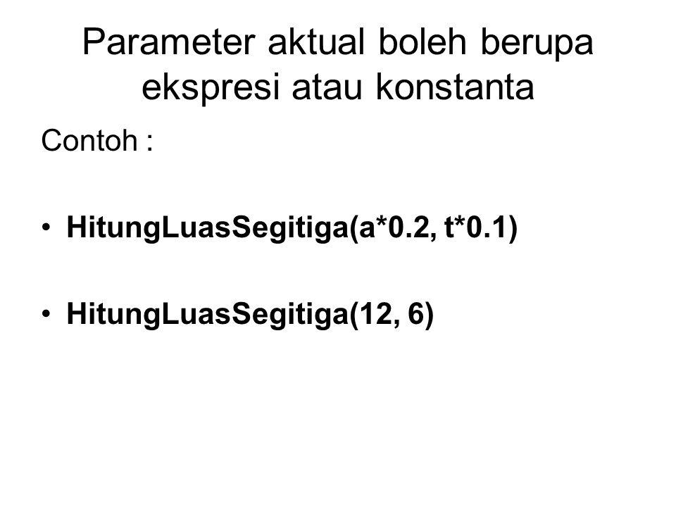 Parameter aktual boleh berupa ekspresi atau konstanta